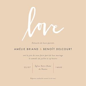 Faire-part de mariage Lettres d'amour rose