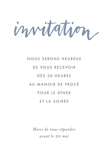Carton d'invitation mariage Lettres d'amour bleu
