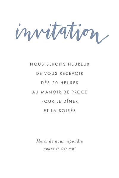 Carton d'invitation mariage Lettres d'amour bleu finition