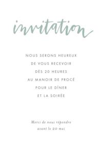 Carton d'invitation mariage Lettres d'amour vert