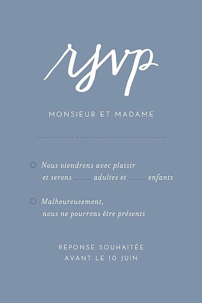 Carton réponse mariage Lettres d'amour bleu finition