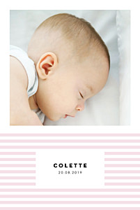 Faire-part de naissance violet rayures pastel portrait rose