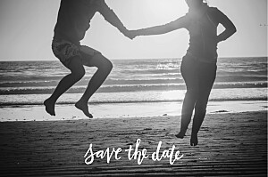 Save the date orange lettres d'amour rose
