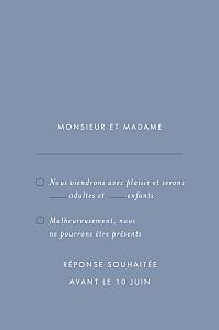 Carton réponse mariage Lettres d'amour (dorure) bleu