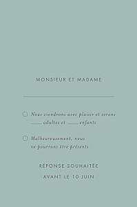 Carton réponse mariage Lettres d'amour (dorure) vert