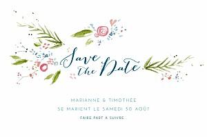 Save the date blanc journée de printemps blanc