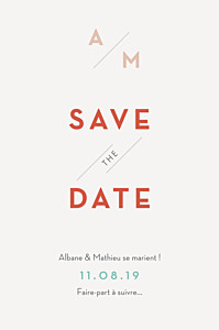 Save the date moderne graphique orange et turquoise