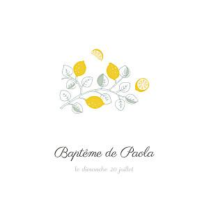 Faire-part de baptême blanc citrons jaune