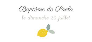 Etiquette de baptême blanc citrons jaune