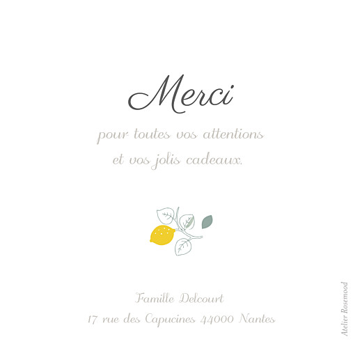 Carte de remerciement Merci citrons photo jaune - Page 2