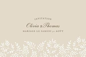 Carton d'invitation mariage beige mille fougères beige
