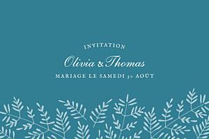 Carton d'invitation mariage classique mille fougères bleu