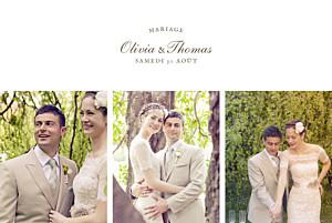 Carte de remerciement mariage beige mille fougères beige