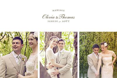 Carte de remerciement mariage Mille fougères beige finition