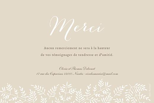 Carte de remerciement mariage Mille fougères beige - Page 2