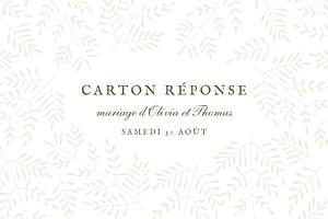 Carton réponse mariage classique mille fougères beige