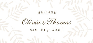 Etiquette de mariage tous genres mille fougères beige