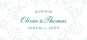 Etiquette de mariage Mille fougères bleu