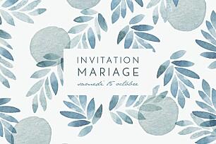 Carton d'invitation mariage blanc nuit d'été (dorure) bleu
