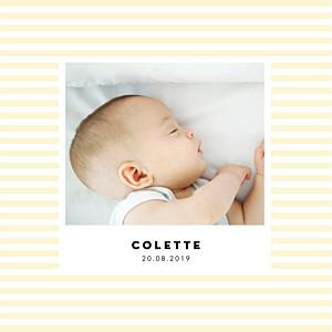 Faire-part de naissance orange rayures pastel 4 pages jaune