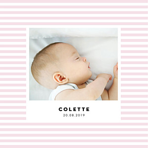 Faire-part de naissance Rayures pastel 4 pages rose