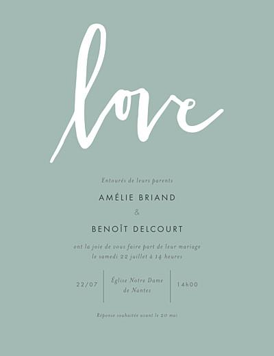 Faire-part de mariage Lettres d'amour portrait vert finition