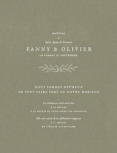 Faire-part de mariage traditionnel provence olive
