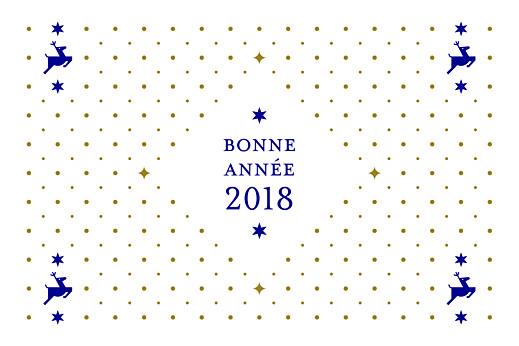 Carte de voeux Rennes de noël bleu & doré