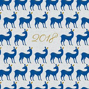 Carte de voeux animaux petites biches de noël bleu