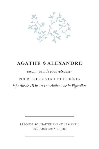 Carton d'invitation mariage Reflets dans l'eau vert finition