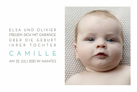 Faire-part de naissance Bilingue justifie 4 photos blanc - Page 2