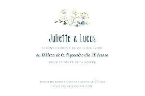 Carton d'invitation mariage jaune bouquet sauvage jaune