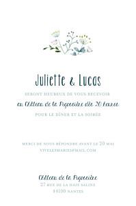 Carton d'invitation mariage tous genres bouquet sauvage (portrait) rose