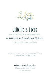 Carton d'invitation mariage blanc bouquet sauvage (portrait) jaune