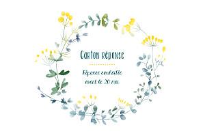 Carton réponse mariage blanc bouquet sauvage jaune