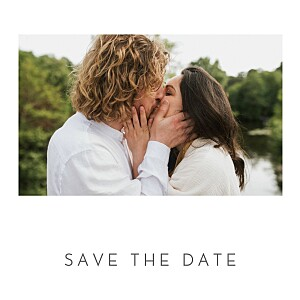 Save the date classique petit élégant cœur (dorure) blanc