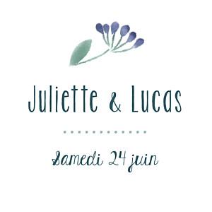Etiquette de mariage violet bouquet sauvage rose