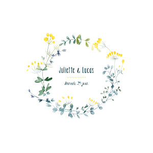Faire-part de mariage blanc bouquet sauvage jaune