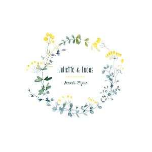 Faire-part de mariage jaune bouquet sauvage jaune