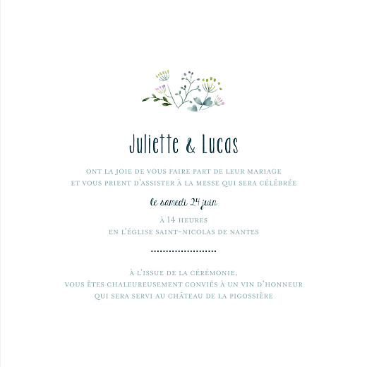 Faire-part de mariage Bouquet sauvage bleu - Page 3