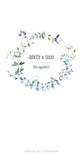 Menu de mariage Bouquet sauvage bleu