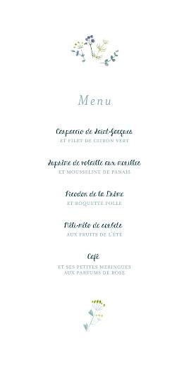 Menu de mariage Bouquet sauvage bleu - Page 3