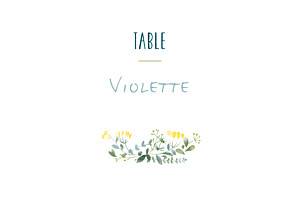 Marque-table mariage blanc bouquet sauvage jaune