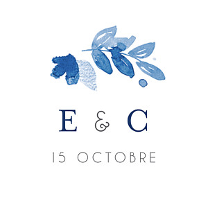 Etiquette de mariage bleu jardin anglais bleu