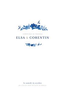 Livret de messe mariage original jardin anglais bleu