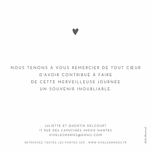 Carte de remerciement mariage Élégant cœur blanc - Page 2