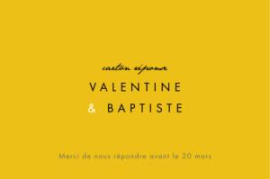 Carton réponse mariage Palermo blanc & jaune