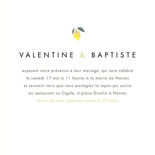 Faire-part de mariage Palermo 4 pages blanc & jaune - Page 3