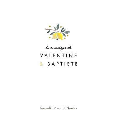 Faire-part de mariage Palermo blanc & jaune finition