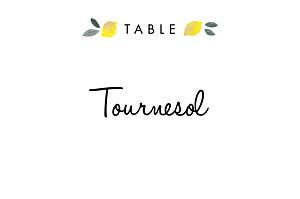 Marque-table mariage jaune palermo blanc & jaune